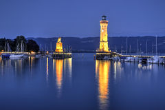 Port av Lindau, Tyskland Fotografering för Bildbyråer