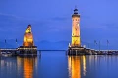 Port av Lindau, Tyskland Arkivbild