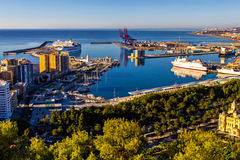 Port av Malaga, Andalusia, Spanien Royaltyfria Foton