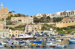 Port av Mgarr på Gozo fotografering för bildbyråer