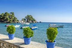 Port av Parga, Grekland - det Ionian havet - Preveza, Epirus Royaltyfri Foto