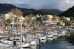 Port av Soller på den Majorca ön, Spanien arkivbilder