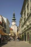 Port av St Michael (Michalska Brana) i Bratislava slovakia Fotografering för Bildbyråer