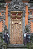 Port av templet med prydnader Indonesien Bali, Ubud Arkivfoto