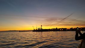 Port av thessal9niki arkivbilder