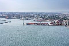 Port av Thessaloniki, Grekland, antenn arkivfoton