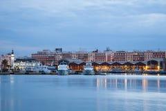 Port av Valencia på skymning Arkivbild