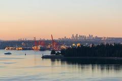 Port av Vancouver av Stanley Park i brittiska columbia Kanada Royaltyfria Bilder