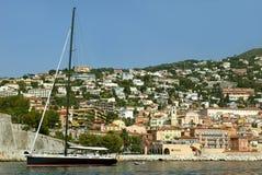 Port av Villefranche, FRANKRIKE Arkivfoton