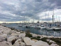 Port avant tempête photo stock