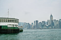 Port avec Hong Kong Island Place Photos libres de droits