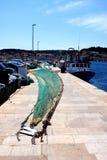 Port avec le filet de pêche photo libre de droits