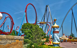 Port Aventura Salou. Dragon Khan and Shambhala attractions in PortAventura, is a theme park and a resort in the south of Barcelona, in Salou, Tarragona. It stock photos