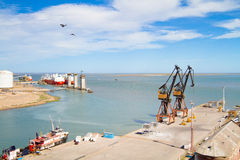 Port in Bahia Blanca, Argentina. Port of Ingeniero White - at the moment is a major trading port of Argentina, the second largest and deepest port in the stock photos