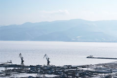Port on Baikal lake. Sludanka town Royalty Free Stock Images