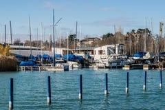 Port of Balatonfured, Lake Balaton with boats, Hungary royalty free stock image