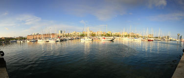 Port of Barcelona. Panorama of the port of Barcelona by day Stock Photo