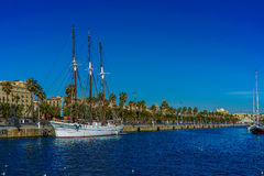 Port of Barcelona. Boat on the port of Barcelona Royalty Free Stock Image