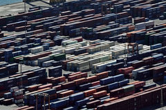 Port of Barcelona. Containers piled up in the port of Barcelona Stock Photo