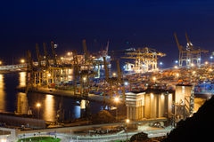 Port of Barcelona by Night in Spain Stock Images
