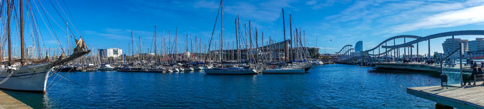 Port of Barcelona panorama. The Bridge on the port of Barcelona royalty free stock image
