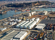 Port of Barcelona, Spain, aerial view. Gas tanks at the port of Barcelona, Spain, aerial view royalty free stock photo