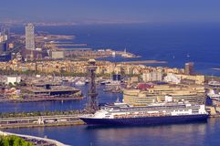 Port of Barcelona Spain. With cruise ship royalty free stock photo