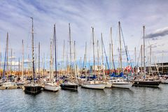 Port of Barcelona, Spain. Yachts, sailing boats Royalty Free Stock Photo