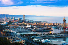 Port of Barcelona in sunny evening. Catalonia, Spain Stock Images