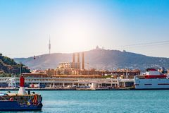 Port in Barcelona, sunny summer day stock photography