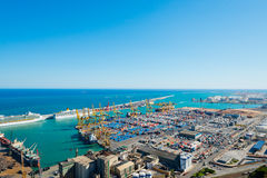 The port of Barcelona view from Montjua on September 14, 2012 Royalty Free Stock Photos