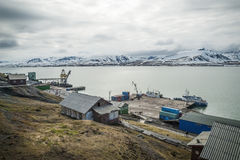 Port in Barentsburg, Russian city in Svalbard Royalty Free Stock Photo