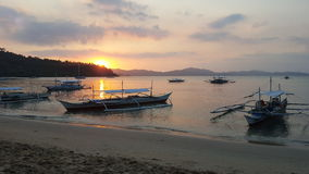 Port Barton sunset. Beautifull sunset at the beach in Port Barton, Palawan, Philippines Royalty Free Stock Photo