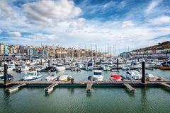 Port in the bay of Albufeira, Portugal, many boats and yachts in stock images