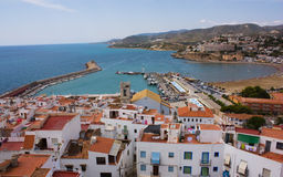 The port and a beach. Kind on port and a beach from lock top on peninsula Peniscula. Valencia. Spain Royalty Free Stock Photos
