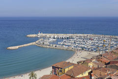 Port and beach of Menton in France Royalty Free Stock Image