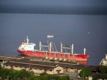 Port of Belem. Red ship in Port - Belem (Amazonia), Brazil. It is one of the little ports of South America stock photography