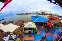 Port of Belize City. BELIZE - JAN 26 2016: Port of Belize City once was  the capital of the former British Honduras. A colorful place for tourists and fun lovers Stock Images
