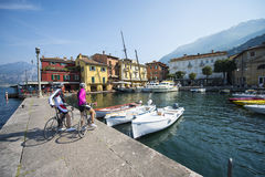 At the port with bicycle. A couple arrived at the port Royalty Free Stock Photography