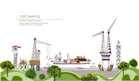 Port of the big city illustration Royalty Free Stock Image