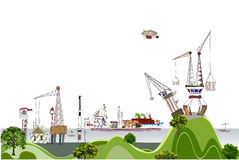 Port of the big city illustration Royalty Free Stock Photography