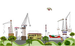 Port of the big city illustration Royalty Free Stock Photo