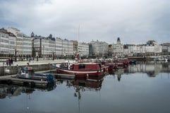 Port and boardwalks A Coruña Stock Image