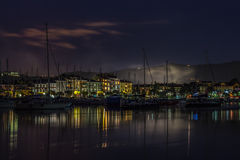 Port with boats and buildings on the Adriatic coast. Izola, Slovenia. Stock Images