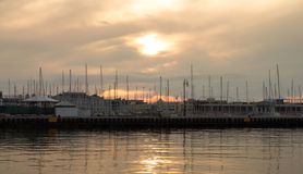 Port with boats and buildings on the Adriatic coast. Izola, Slovenia. Royalty Free Stock Photography