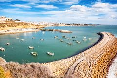 Port with boats and yachts in Albufeira, a city on the Atlantic stock photos