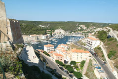 The port of Bonifacio on Corsica island Stock Photo