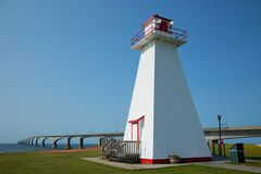 Port Borden Range Front Lighthouse in Prince Edward island. Port Borden Range Front Lighthouse with the confederation bridge in background in Prince Edward Royalty Free Stock Images
