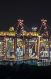 Shipping cargo terminal at night. The Port Botany cargo terminal works 24 hours a day loading and unloading container cargo from ships Stock Image
