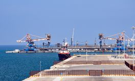 Port of Brindisi in southern Italy. Commercial dock of the Port of Brindisi. Puglia region, southern Italy. The port of Brindisi has always been considered as stock photo